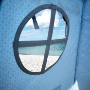 Fereastra cort bleu