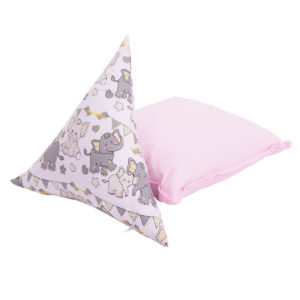 set de perne din bumbac format din triunghi elefanti si patrat roz