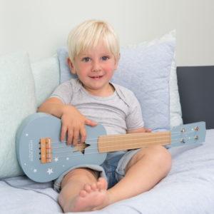 Chitara muzicala bleu din lemn - Little Dutch