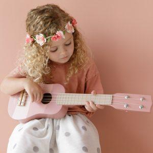 Chitara muzicala roz din lemn - Little Dutch