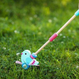 Jucarie de impins din lemn pasare pentru copii